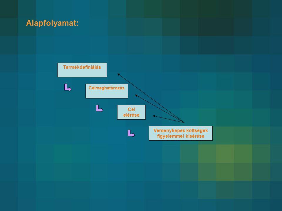 Alapfolyamat: Termékdefiniálás Célmeghatározás Cél elérése Versenyképes költségek figyelemmel kísérése