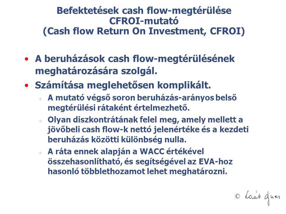 © Befektetések cash flow-megtérülése CFROI-mutató (Cash flow Return On Investment, CFROI) A beruházások cash flow-megtérülésének meghatározására szol