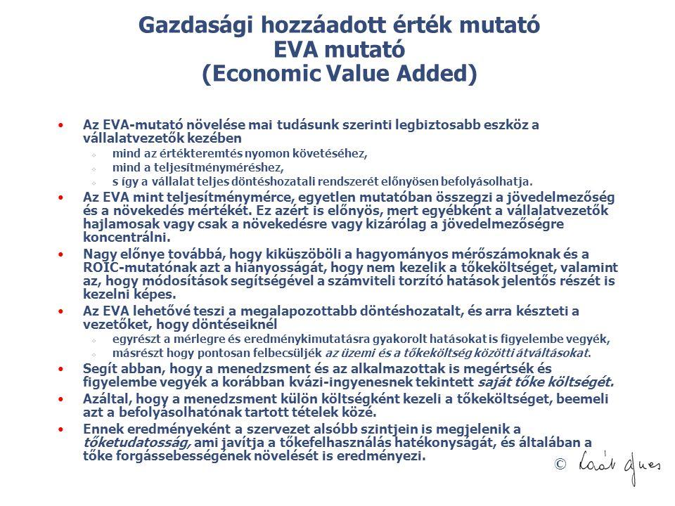 © Gazdasági hozzáadott érték mutató EVA mutató (Economic Value Added) Az EVA-mutató növelése mai tudásunk szerinti legbiztosabb eszköz a vállalatvezet