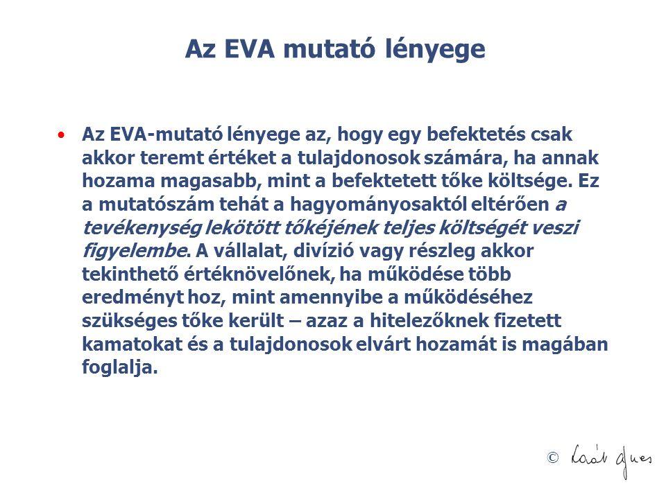 © Az EVA mutató lényege Az EVA-mutató lényege az, hogy egy befektetés csak akkor teremt értéket a tulajdonosok számára, ha annak hozama magasabb, mint