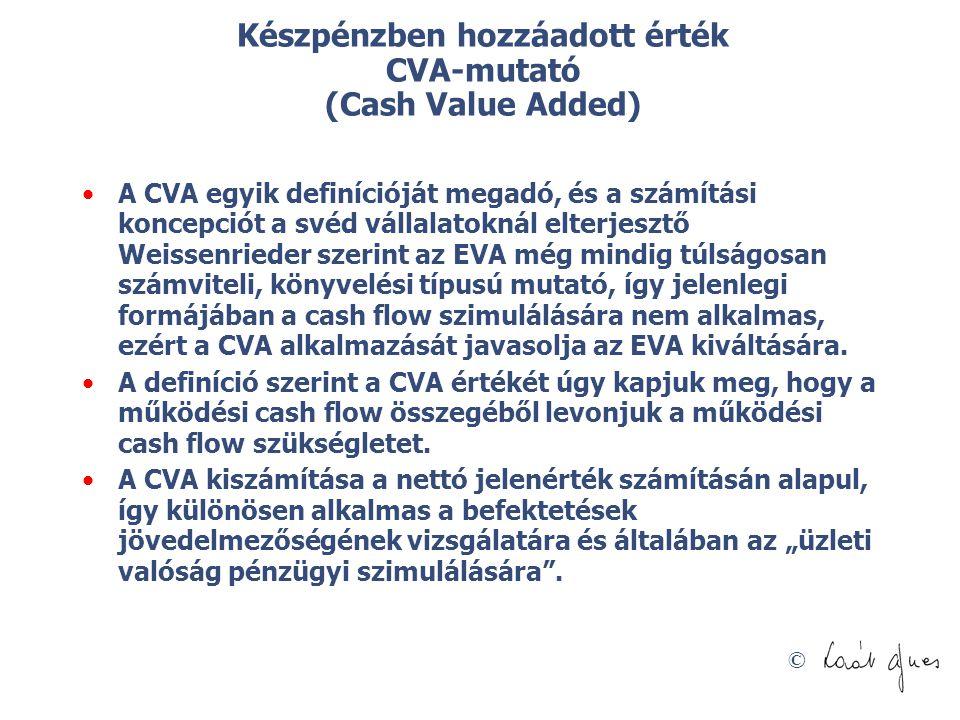 © Készpénzben hozzáadott érték CVA-mutató (Cash Value Added) A CVA egyik definícióját megadó, és a számítási koncepciót a svéd vállalatoknál elterjesz