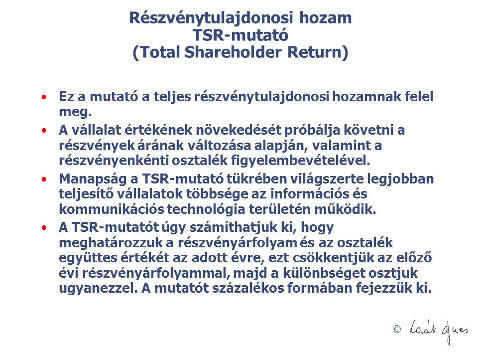 © Részvénytulajdonosi hozam TSR-mutató (Total Shareholder Return) Ez a mutató a teljes részvénytulajdonosi hozamnak felel meg. A vállalat értékének nö