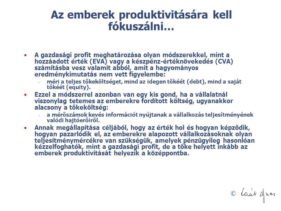 © Az emberek produktivitására kell fókuszálni… A gazdasági profit meghatározása olyan módszerekkel, mint a hozzáadott érték (EVA) vagy a készpénz-érté