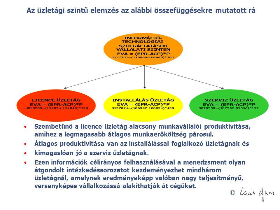 © Az üzletági szintű elemzés az alábbi összefüggésekre mutatott rá Szembetűnő a licence üzletág alacsony munkavállalói produktivitása, amihez a legmag
