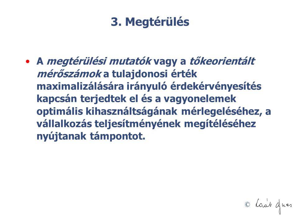 © 3. Megtérülés A megtérülési mutatók vagy a tőkeorientált mérőszámok a tulajdonosi érték maximalizálására irányuló érdekérvényesítés kapcsán terjedte