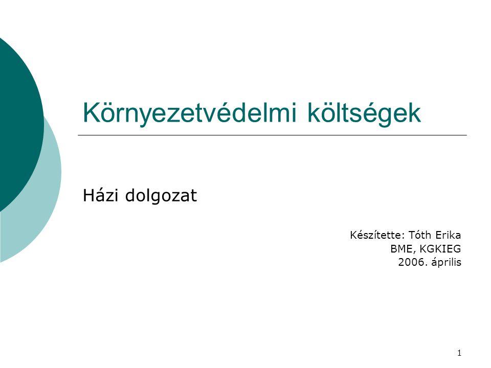 1 Környezetvédelmi költségek Házi dolgozat Készítette: Tóth Erika BME, KGKIEG 2006. április