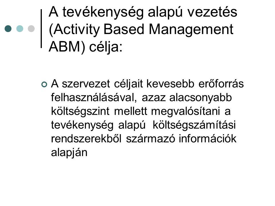 A tevékenység alapú vezetés (Activity Based Management ABM) célja: A szervezet céljait kevesebb erőforrás felhasználásával, azaz alacsonyabb költségszint mellett megvalósítani a tevékenység alapú költségszámítási rendszerekből származó információk alapján