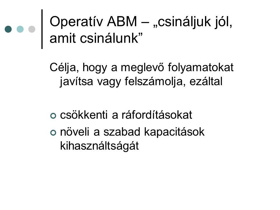 """Operatív ABM – """"csináljuk jól, amit csinálunk Célja, hogy a meglevő folyamatokat javítsa vagy felszámolja, ezáltal csökkenti a ráfordításokat növeli a szabad kapacitások kihasználtságát"""