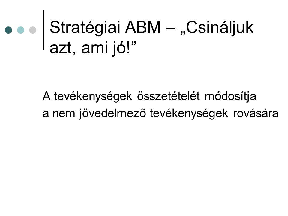 Az operatív ABM részei Tevékenységmenedzsment Folyamatok újraszervezése (Business Process Reendineering BPR) Teljes körű minőségbiztosítás Teljesítménymérés