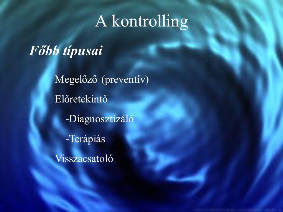 A kontrolling Főbb típusai Megelőző (preventív) Előretekintő -Diagnosztizáló -Terápiás Visszacsatoló