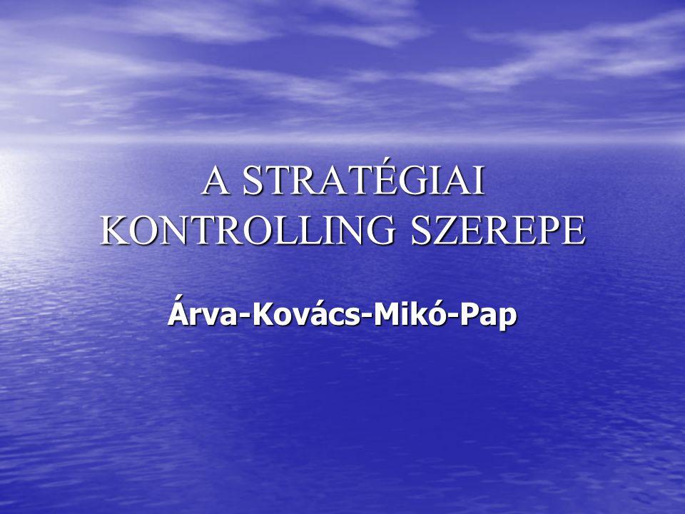 A STRATÉGIAI KONTROLLING SZEREPE Árva-Kovács-Mikó-Pap