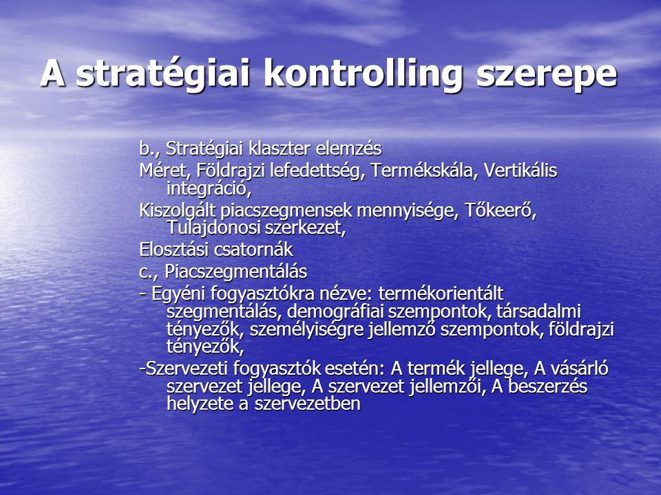 A stratégiai kontrolling szerepe Üzletági szintű stratégia a., Termék- piac mátrix üzleti egységek üzleti pozíciójának értékelése b., Környezetelemzés (PESTEL) c., Értéklánc elemzés Michael Porter Stratégiailag fontos tevékenységei szerint bontja le a vállalatot, azzal a céllal, hogy jobban megérthessük a költségek képződésének folyamatát.