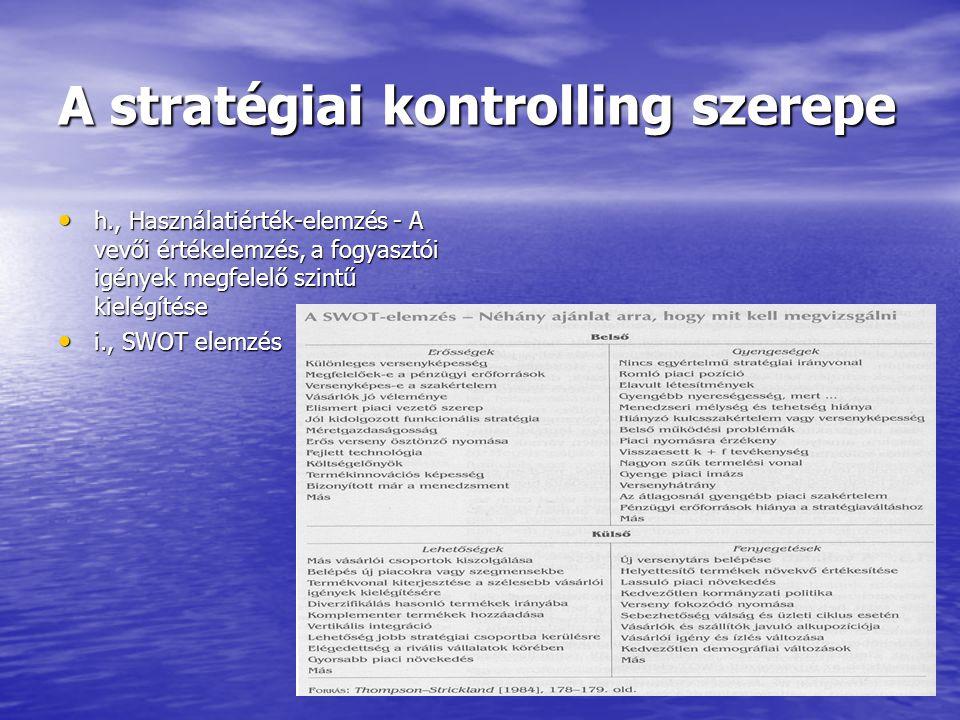 A stratégiai kontrolling szerepe Funkcionális szintű stratégiák Funkcionális szintű stratégiák Céljuk a hatékony erőforráselosztás Céljuk a hatékony erőforráselosztás Típusai: Humán- és kultúraépítési, Szervezetfejlesztési és vezetési, Marketing, Gyártási, Pénzügyi Típusai: Humán- és kultúraépítési, Szervezetfejlesztési és vezetési, Marketing, Gyártási, Pénzügyi A stratégia értékelése három kritérium alapján: alkalmasság, elfogadhatóság, megvalósíthatóság A stratégia értékelése három kritérium alapján: alkalmasság, elfogadhatóság, megvalósíthatóság A stratégia meghatározásához három fő kérdéskörben kell a vállalatnak döntéseket hoznia: 1., meg kell határozni a vállalat küldetését,.