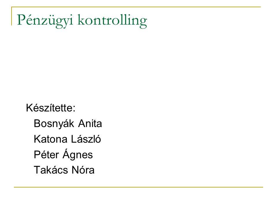 Pénzügyi kontrolling Készítette: Bosnyák Anita Katona László Péter Ágnes Takács Nóra