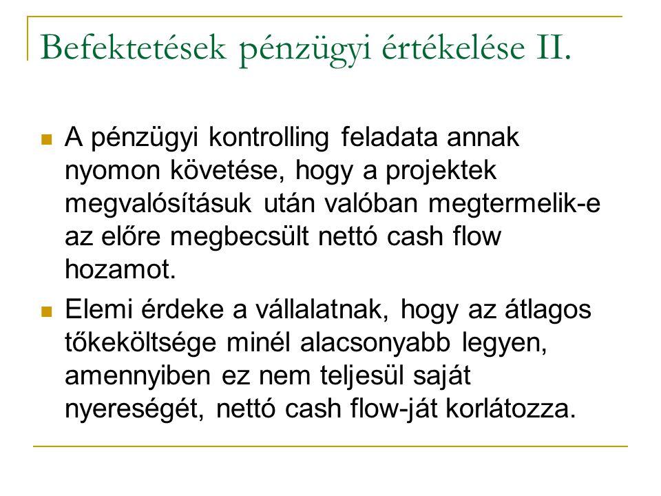 Befektetések pénzügyi értékelése II. A pénzügyi kontrolling feladata annak nyomon követése, hogy a projektek megvalósításuk után valóban megtermelik-e