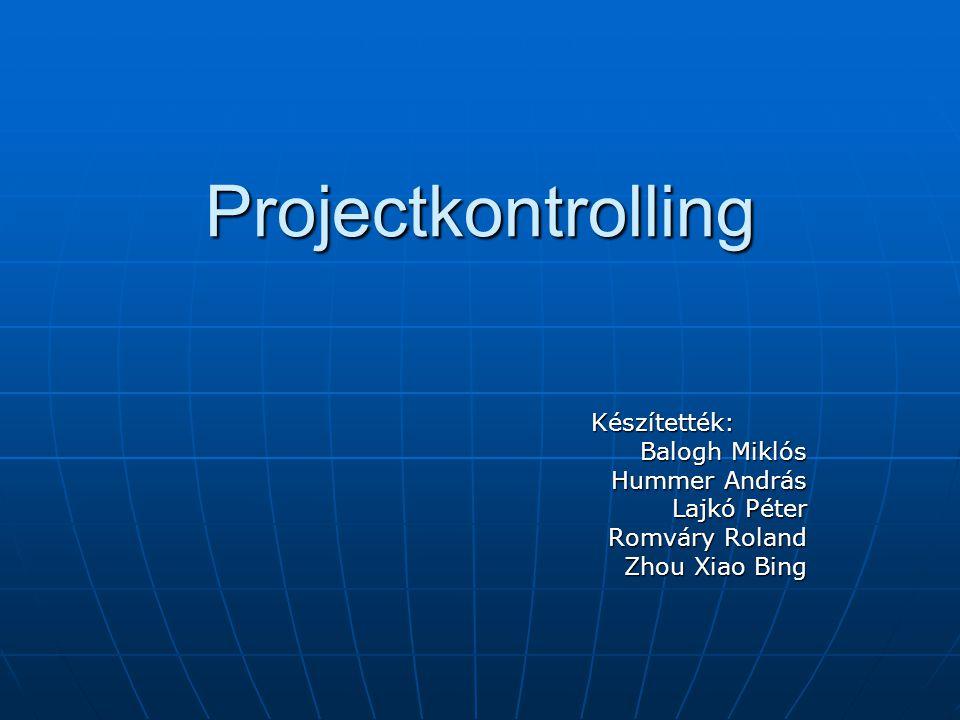 Projectkontrolling Készítették: Készítették: Balogh Miklós Hummer András Lajkó Péter Romváry Roland Zhou Xiao Bing
