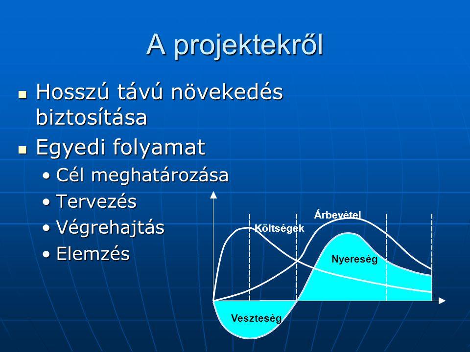 A projektekről Hosszú távú növekedés biztosítása Hosszú távú növekedés biztosítása Egyedi folyamat Egyedi folyamat Cél meghatározásaCél meghatározása TervezésTervezés VégrehajtásVégrehajtás ElemzésElemzés Veszteség Nyereség Árbevétel Költségek