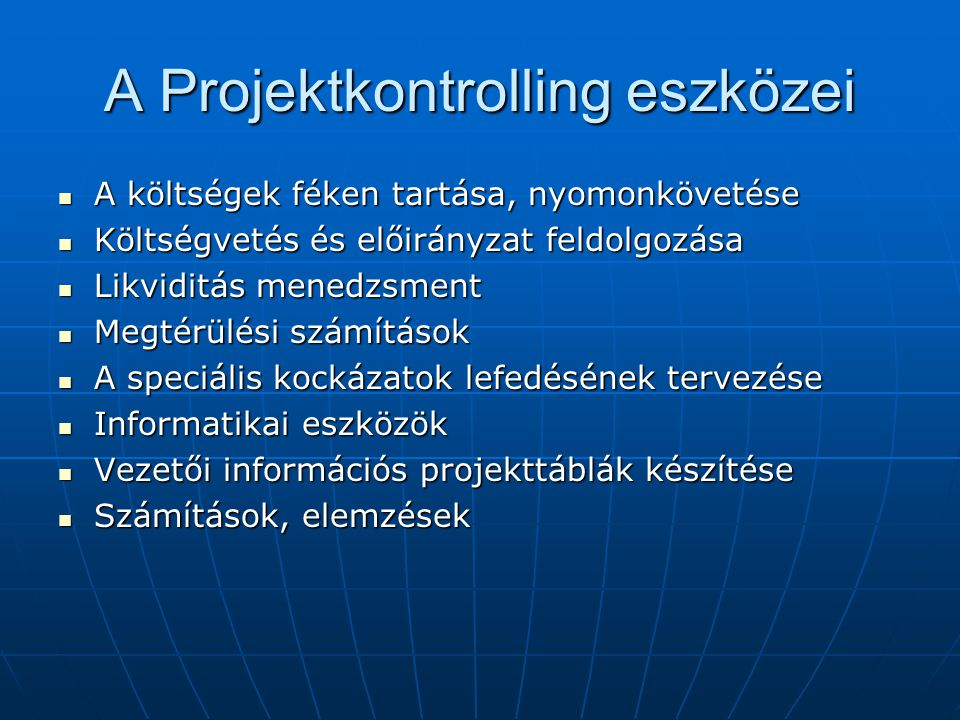 A projektkontrolling szintézise