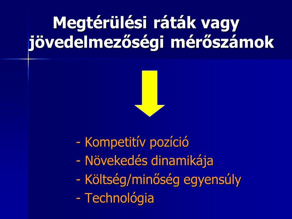Megtérülési ráták vagy jövedelmezőségi mérőszámok - Kompetitív pozíció - Növekedés dinamikája - Költség/minőség egyensúly - Technológia