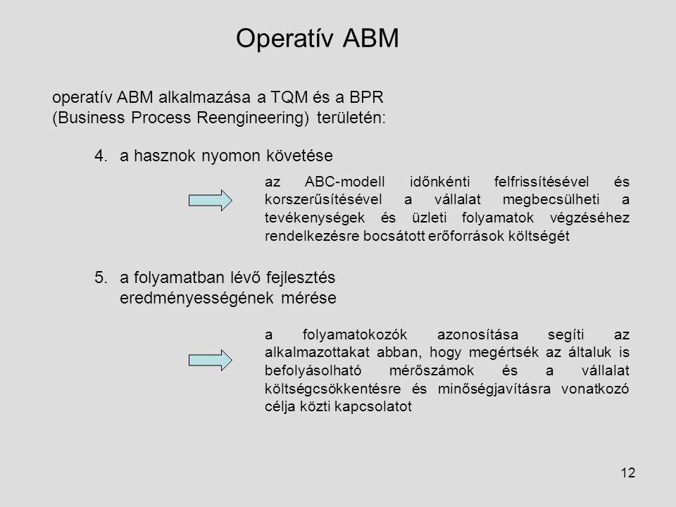 12 Operatív ABM operatív ABM alkalmazása a TQM és a BPR (Business Process Reengineering) területén: 4.a hasznok nyomon követése 5.a folyamatban lévő f