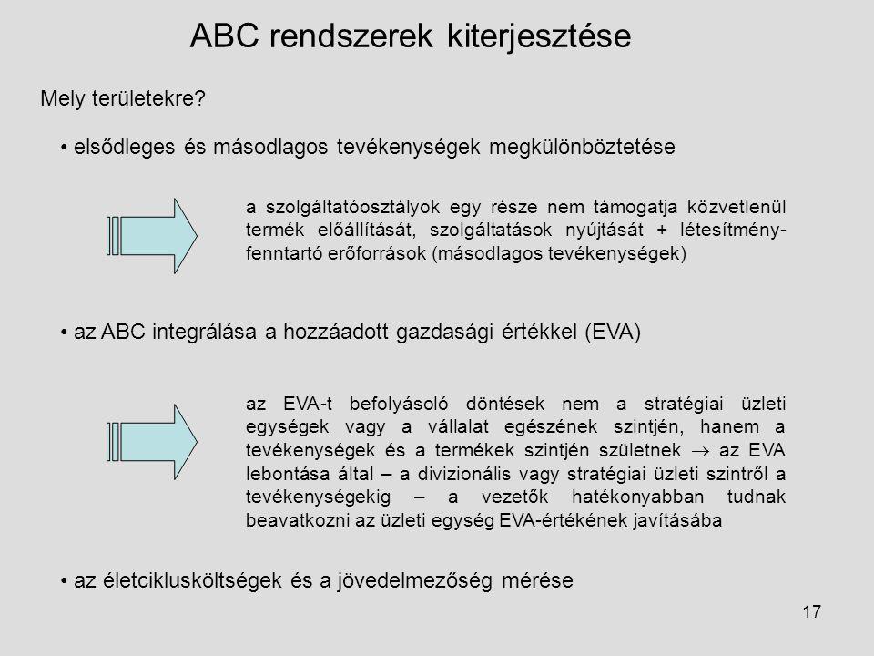 17 ABC rendszerek kiterjesztése Mely területekre? elsődleges és másodlagos tevékenységek megkülönböztetése a szolgáltatóosztályok egy része nem támoga