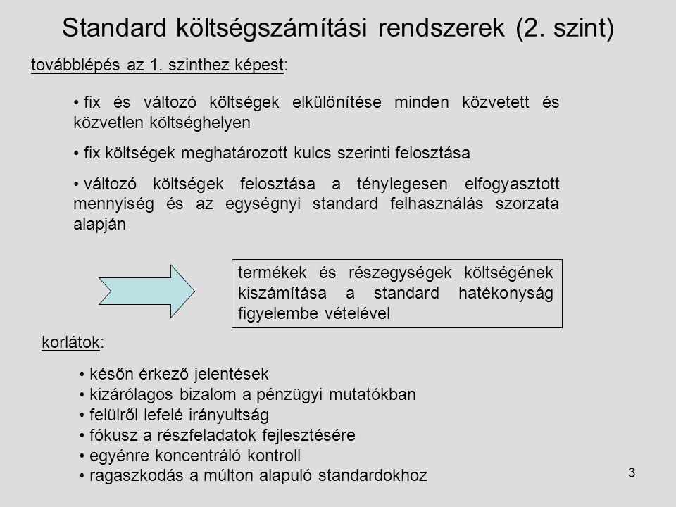 3 Standard költségszámítási rendszerek (2. szint) továbblépés az 1. szinthez képest: fix és változó költségek elkülönítése minden közvetett és közvetl