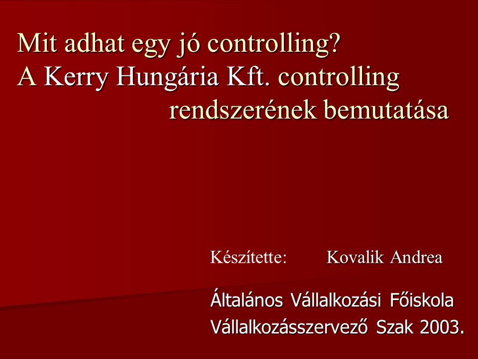 Mit adhat egy jó controlling.A Kerry Hungária Kft.