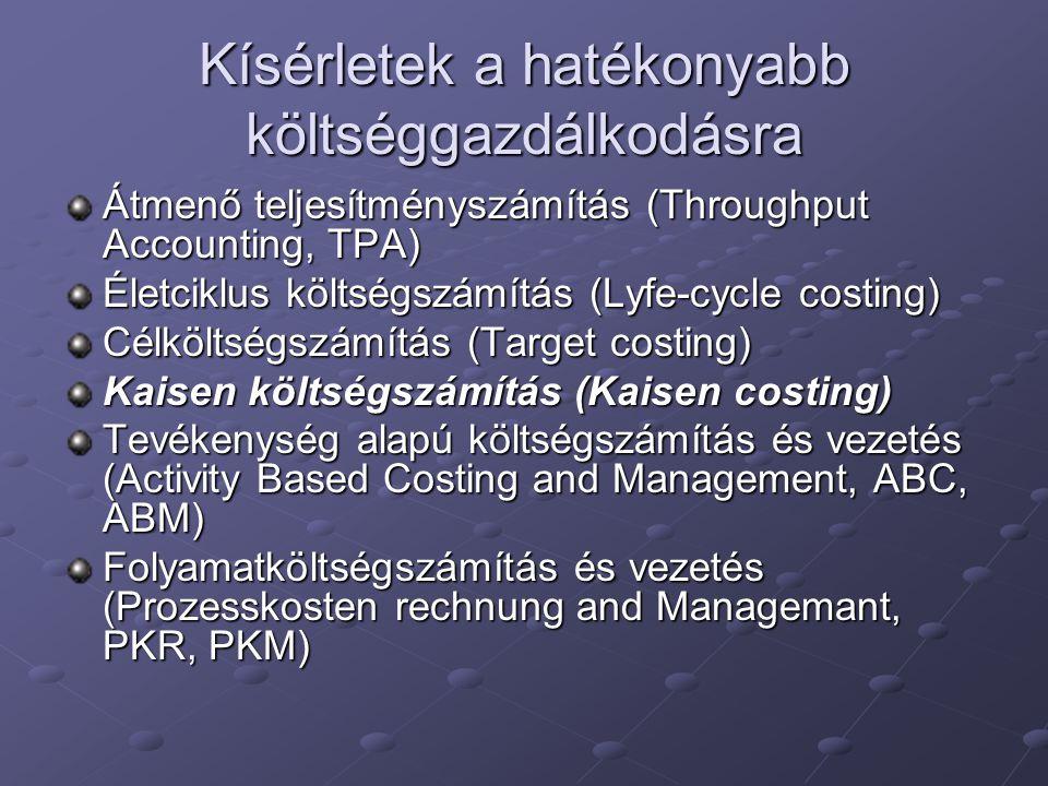 """Kaizen költségszámítás A kaizen költségszámítás az a """"folyamatos fejlesztés, ami egy termék teljes életciklusán át az előállítási folyamat költségeinek csökkentésére irányul ; A kaizen költségszámítás a tényleges termelési folyamatra épül; Több nem pénzügyi mutatót is számításba vesznek, hogy az alkalmazottak javítani tudják a folyamatok minőségét és átfutási idejét; Megkülönböztető tulajdonsága, hogy pénzügyi jellegű információt is nyújtanak a munkatársak számára, azért, hogy azok még hatékonyabb folyamatokat tudjanak kifejleszteni."""