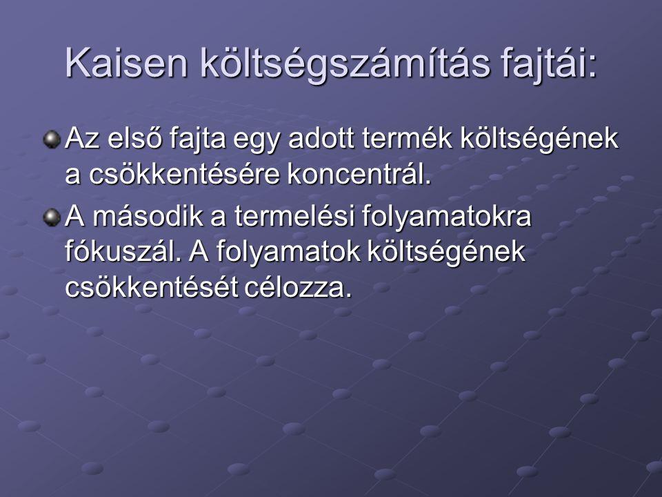 Kaisen költségszámítás fajtái: Az első fajta egy adott termék költségének a csökkentésére koncentrál. A második a termelési folyamatokra fókuszál. A f