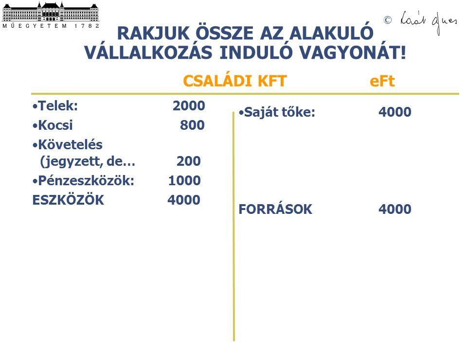 © RAKJUK ÖSSZE EGY ÁTLAGOS MAGYAR CSALÁD VAGYONMÉRLEGÉT (piaci értéken)! Telek:2000 Lakás: 15000 Üdülőtelek: 0 Nyaraló: 0 1. Kocsi3000 2. Kocsi 800 Él