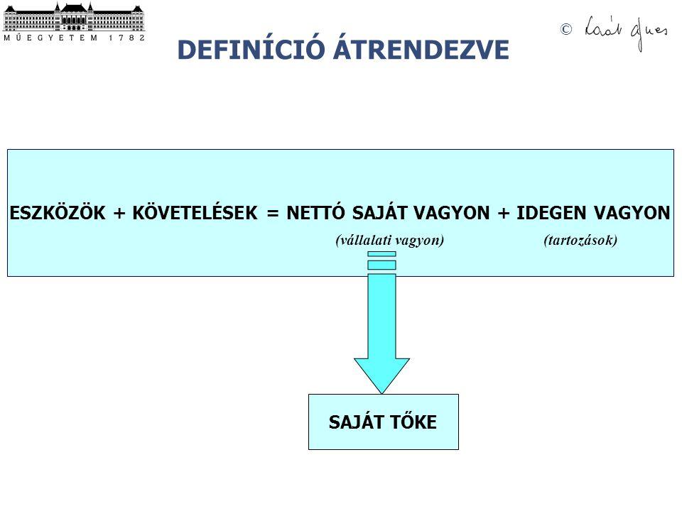 © DEFINÍCIÓ ÁTRENDEZVE ESZKÖZÖK + KÖVETELÉSEK = NETTÓ SAJÁT VAGYON + IDEGEN VAGYON (vállalati vagyon)(tartozások) SAJÁT TŐKE