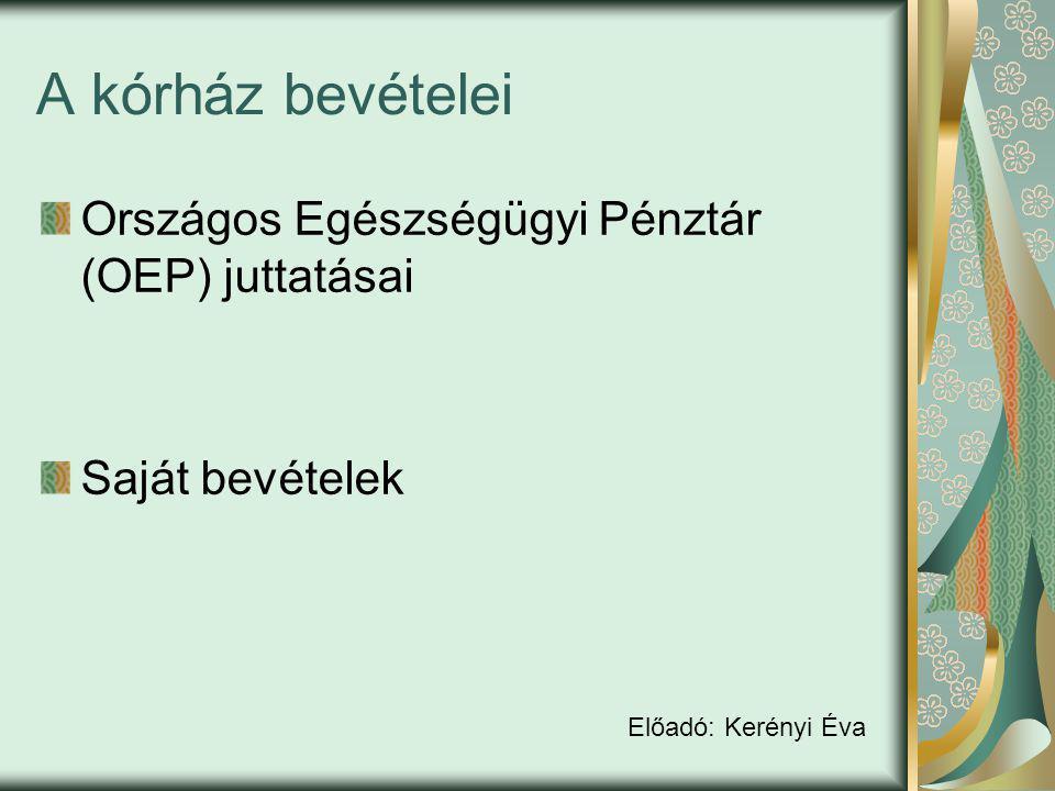 A kórház bevételei Országos Egészségügyi Pénztár (OEP) juttatásai Saját bevételek Előadó: Kerényi Éva