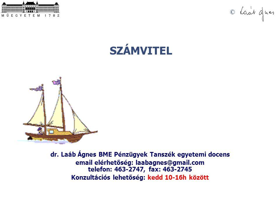 SZÁMVITEL © dr. Laáb Ágnes BME Pénzügyek Tanszék egyetemi docens email elérhetőség: laabagnes@gmail.com telefon: 463-2747, fax: 463-2745 Konzultációs