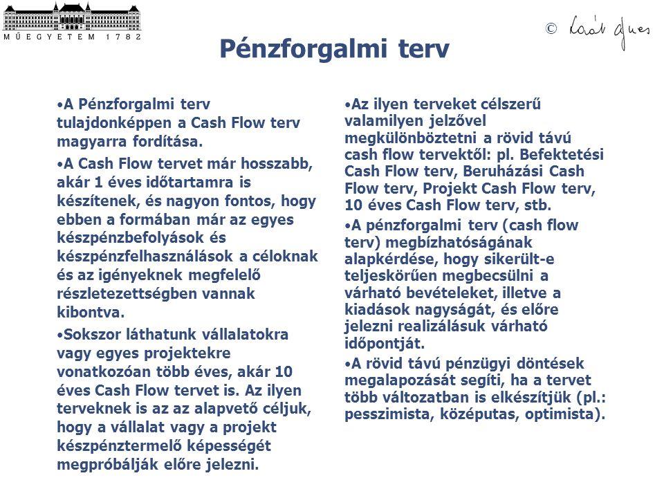 © Pénzforgalmi terv A Pénzforgalmi terv tulajdonképpen a Cash Flow terv magyarra fordítása. A Cash Flow tervet már hosszabb, akár 1 éves időtartamra i