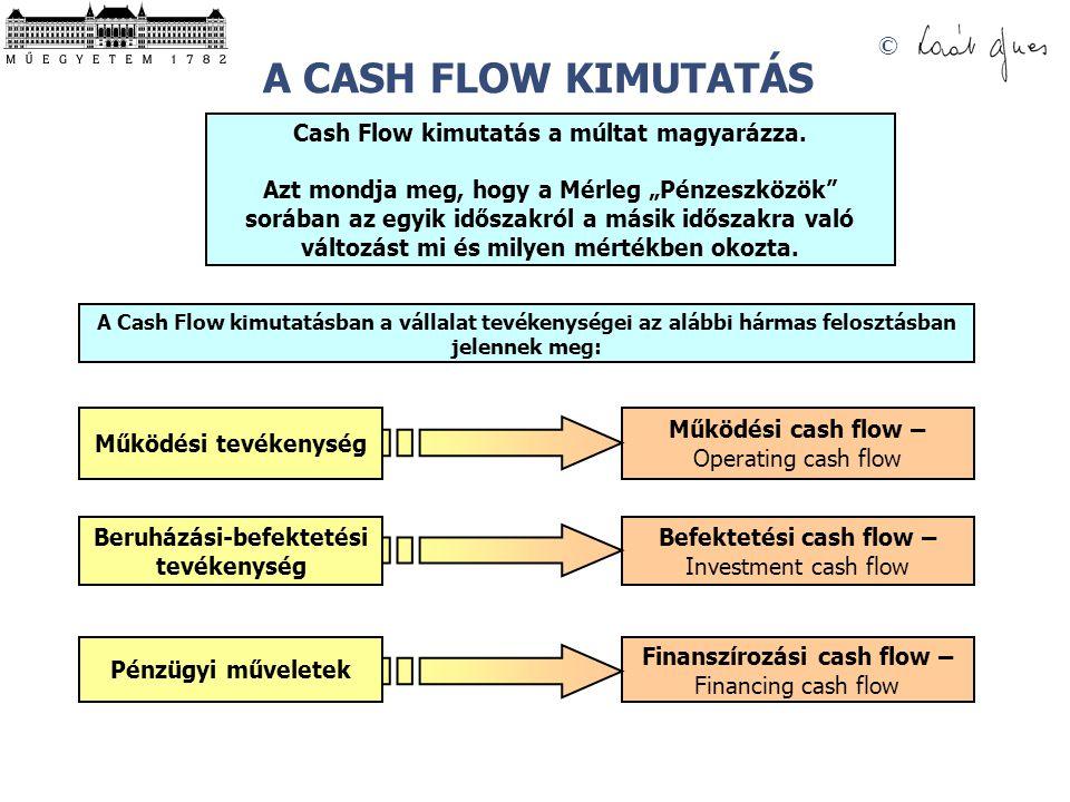 """© Cash Flow kimutatás a múltat magyarázza. Azt mondja meg, hogy a Mérleg """"Pénzeszközök"""" sorában az egyik időszakról a másik időszakra való változást m"""