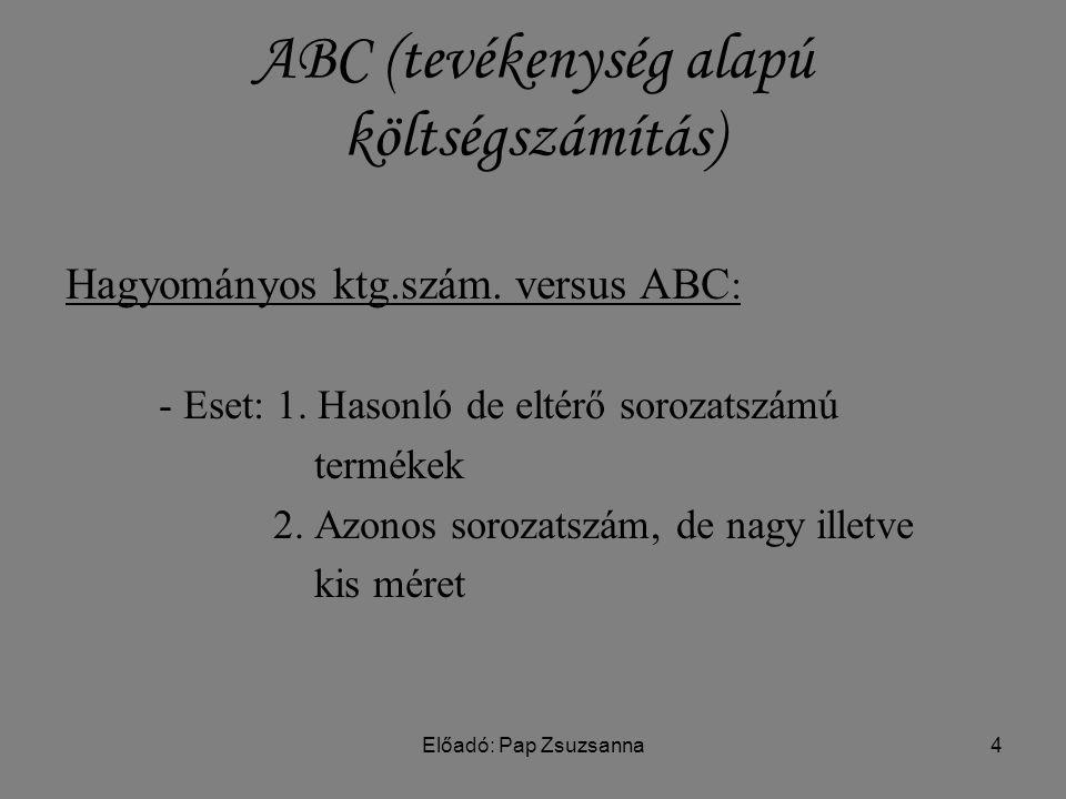Előadó: Pap Zsuzsanna4 ABC (tevékenység alapú költségszámítás) Hagyományos ktg.szám.