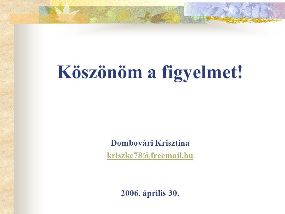 Köszönöm a figyelmet! Dombovári Krisztina kriszke78@freemail.hu 2006. április 30.