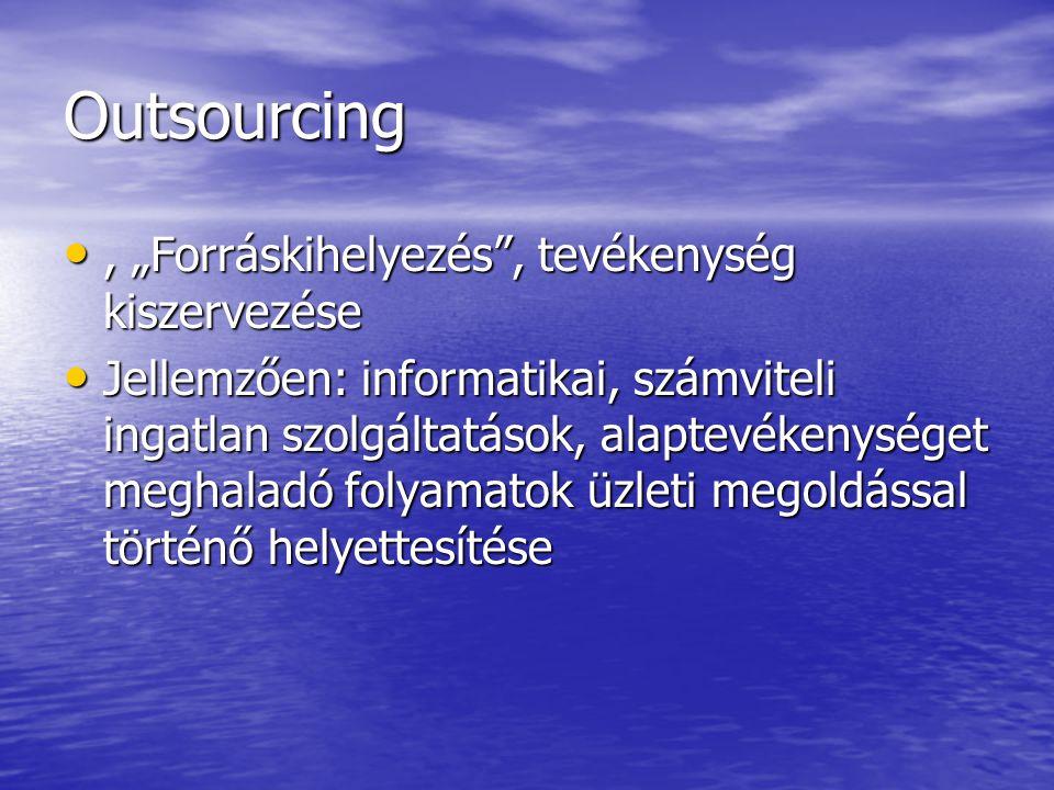 """Outsourcing, """"Forráskihelyezés , tevékenység kiszervezése, """"Forráskihelyezés , tevékenység kiszervezése Jellemzően: informatikai, számviteli ingatlan szolgáltatások, alaptevékenységet meghaladó folyamatok üzleti megoldással történő helyettesítése Jellemzően: informatikai, számviteli ingatlan szolgáltatások, alaptevékenységet meghaladó folyamatok üzleti megoldással történő helyettesítése"""