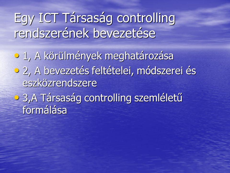 Egy ICT Társaság controlling rendszerének bevezetése 1, A körülmények meghatározása 1, A körülmények meghatározása 2, A bevezetés feltételei, módszerei és eszközrendszere 2, A bevezetés feltételei, módszerei és eszközrendszere 3,A Társaság controlling szemléletű formálása 3,A Társaság controlling szemléletű formálása
