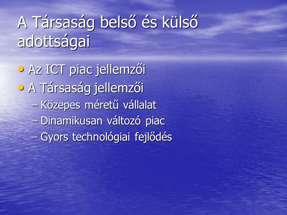 A Társaság belső és külső adottságai Az ICT piac jellemzői Az ICT piac jellemzői A Társaság jellemzői A Társaság jellemzői –Közepes méretű vállalat –Dinamikusan változó piac –Gyors technológiai fejlődés