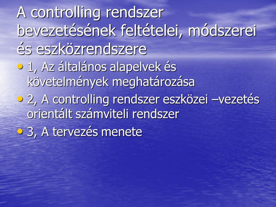 A controlling rendszer bevezetésének feltételei, módszerei és eszközrendszere 1, Az általános alapelvek és követelmények meghatározása 1, Az általános alapelvek és követelmények meghatározása 2, A controlling rendszer eszközei –vezetés orientált számviteli rendszer 2, A controlling rendszer eszközei –vezetés orientált számviteli rendszer 3, A tervezés menete 3, A tervezés menete