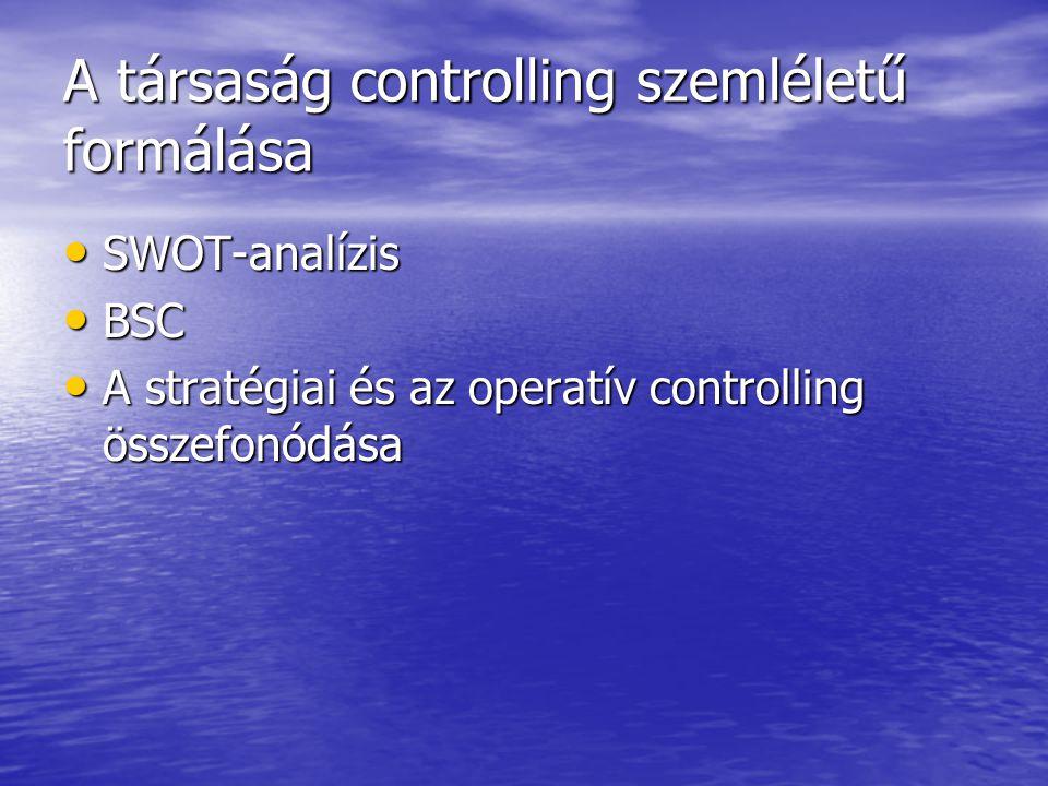 A társaság controlling szemléletű formálása SWOT-analízis SWOT-analízis BSC BSC A stratégiai és az operatív controlling összefonódása A stratégiai és az operatív controlling összefonódása