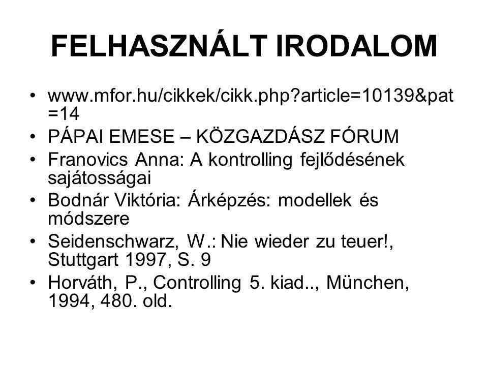 FELHASZNÁLT IRODALOM www.mfor.hu/cikkek/cikk.php?article=10139&pat =14 PÁPAI EMESE – KÖZGAZDÁSZ FÓRUM Franovics Anna: A kontrolling fejlődésének sajátosságai Bodnár Viktória: Árképzés: modellek és módszere Seidenschwarz, W.: Nie wieder zu teuer!, Stuttgart 1997, S.