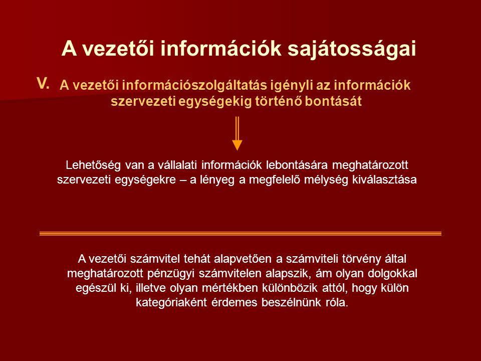 A vezetői információk sajátosságai V. A vezetői számvitel tehát alapvetően a számviteli törvény által meghatározott pénzügyi számvitelen alapszik, ám