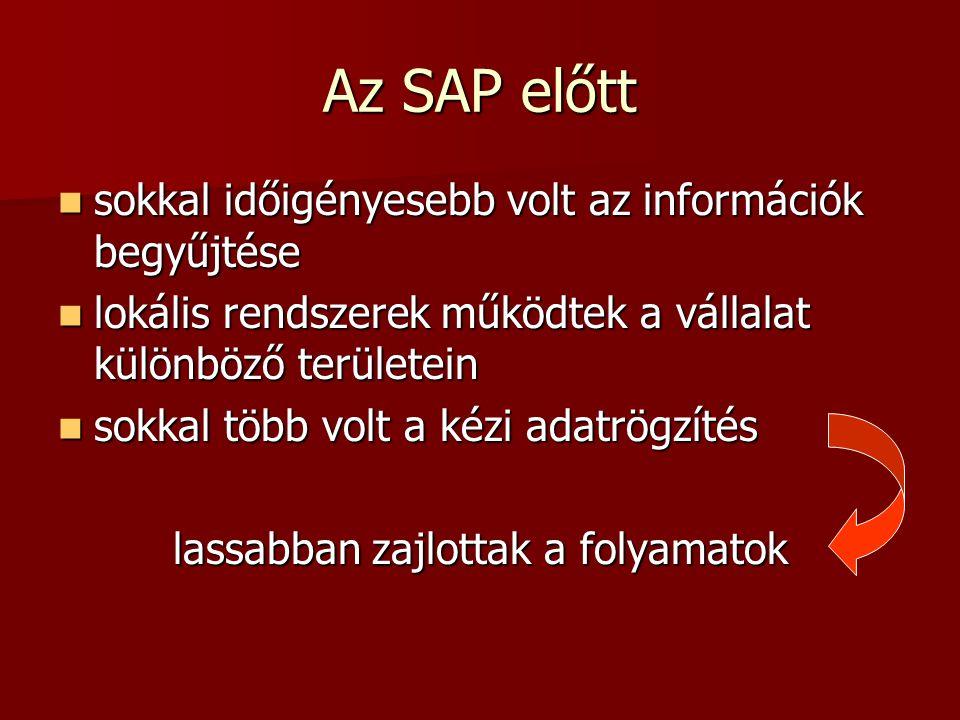 Az SAP előtt sokkal időigényesebb volt az információk begyűjtése sokkal időigényesebb volt az információk begyűjtése lokális rendszerek működtek a vál