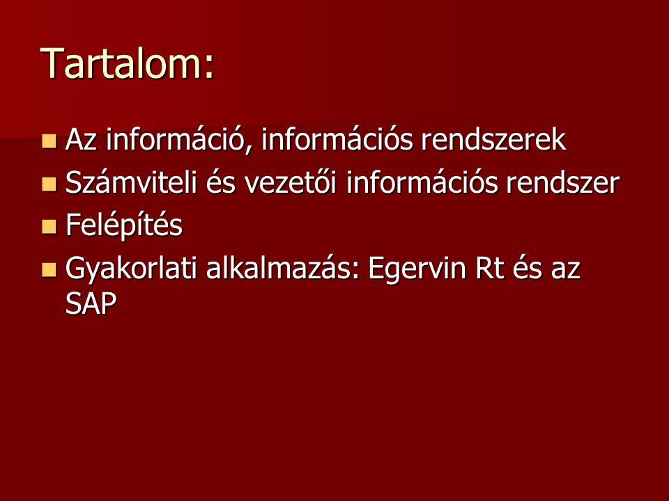 Tartalom: Az információ, információs rendszerek Az információ, információs rendszerek Számviteli és vezetői információs rendszer Számviteli és vezetői