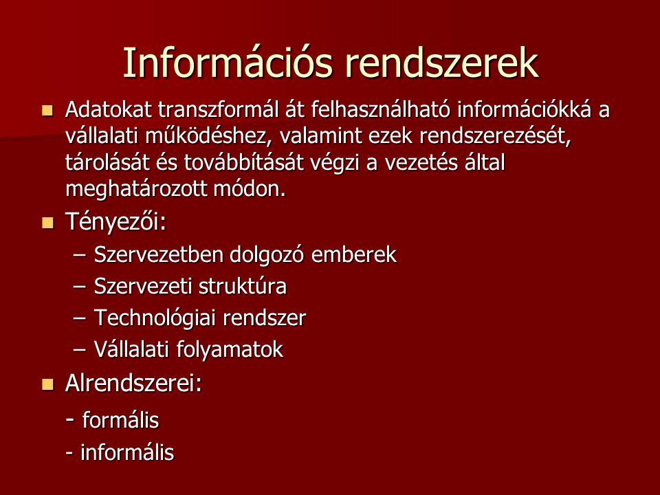 Információs rendszerek Adatokat transzformál át felhasználható információkká a vállalati működéshez, valamint ezek rendszerezését, tárolását és tovább