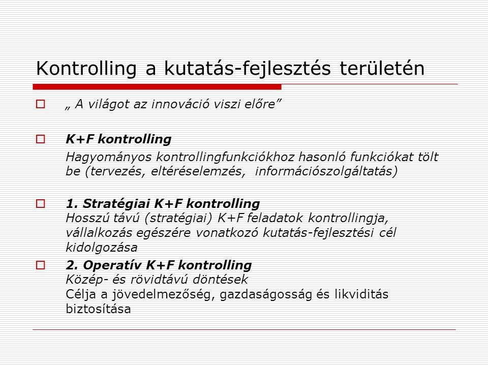 """Kontrolling a kutatás-fejlesztés területén  """" A világot az innováció viszi előre  K+F kontrolling Hagyományos kontrollingfunkciókhoz hasonló funkciókat tölt be (tervezés, eltéréselemzés, információszolgáltatás)  1."""