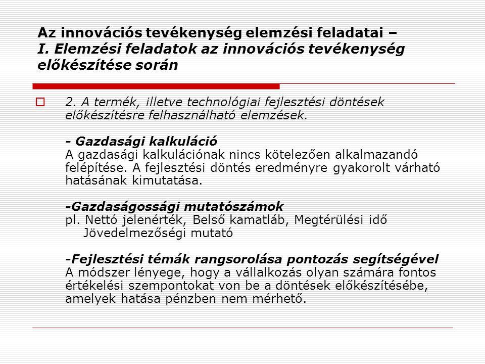 Az innovációs tevékenység elemzési feladatai – I.