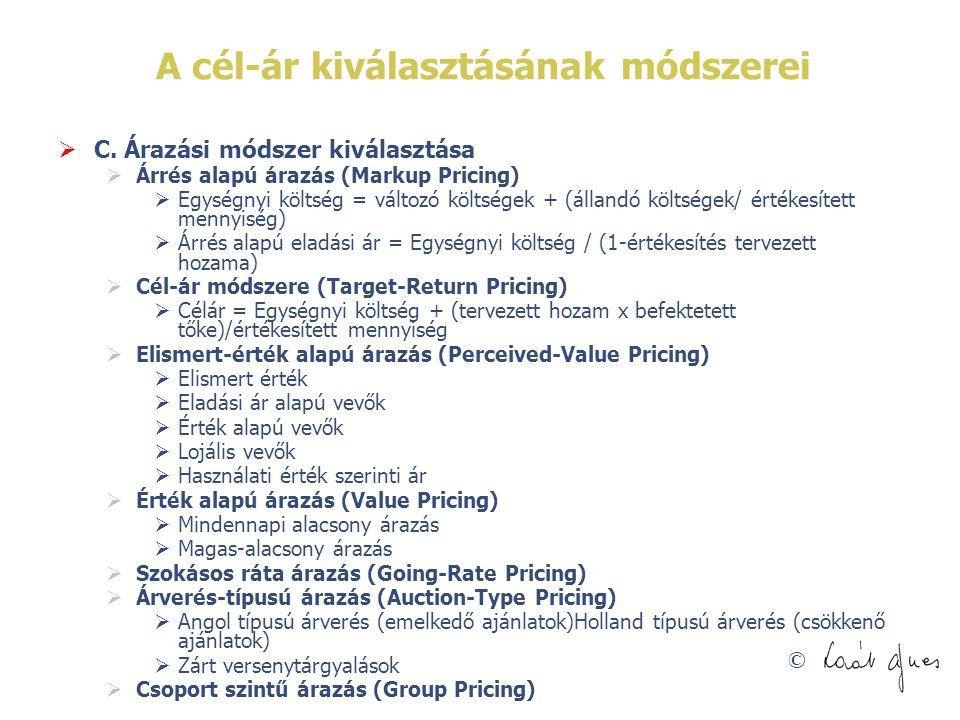 © A cél-ár kiválasztásának módszerei  C. Árazási módszer kiválasztása  Árrés alapú árazás (Markup Pricing)  Egységnyi költség = változó költségek +